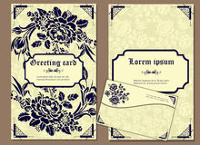 Set of greeting cards and envelope in a luxurious vintage style Stock Photo