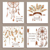 Set greeting cards ethnic style. Dream Catcher Stock Image