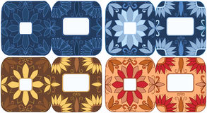 Set Greeting cards - Flowers in the corners Royalty Free Stock Photo