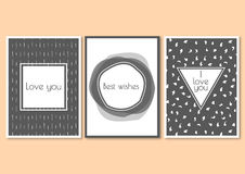 Set of greeting cards with hand drawn patterns. Wedding invitation or posters vector illustration
