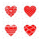 Set of greeting cards for Happy Valentines Day. Vector illustrat. Ion with hearts Stock Photo