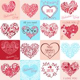 Set of greeting cards with hearts Happy Valentine`s Day. 16 decorative hearts. Vector illustrations.  stock illustration