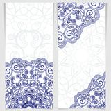 Set of greeting cards or invitations in the style of imitation Chinese porcelain painting. Royalty Free Stock Images