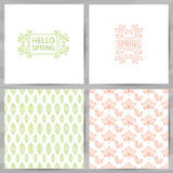 Set of greeting cards, invitations, template design. Hello Spring logo with swirl, flower, plant. The simple pattern of Royalty Free Stock Photo