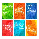 Set of greeting cards, invitations, web banners Hello summer.. Set of greeting cards Hello summer. Summer card for better holiday. Cards with watercolor texture Stock Photography