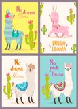 Set of greeting cards with llama. Stylized cartoon llama with ornament design and cactus. Vector poster. Set of greeting cards with llama. Stylized cartoon royalty free illustration