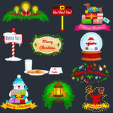 Set of greeting cards Merry Christmas and a Happy New Year with a lantern, the lights in reindeer antlers, candy in Stock Images
