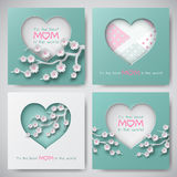 Set of greeting cards for mother`s day with congratulation text, paper shapes decorated cherry flowers, heart on dotted background. Set of greeting cards for vector illustration