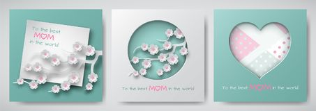 Set of greeting cards for mother`s day. Sheet of paper with congratulation text, cuted paper decorated cherry flowers, heart Royalty Free Stock Photos