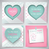 Set of greeting cards for mother`s day with square sheet of paper with congratulation text and smiling flower, cuted paper hearts. Set of green and pink greeting royalty free illustration