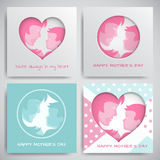 Set of greeting cards for mother`s day. Women and baby silhouettes, congratulation text, cuted heart on dotted background. Greeting card for mother`s day with royalty free illustration