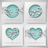 Set of greeting cards for mother`s day with women and baby silhouettes with congratulation text, cuted shapes decorated flowers. Set of green greeting cards for stock illustration