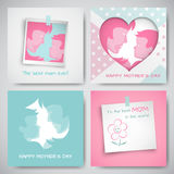 Set of greeting cards for mother`s day. Women and baby silhouettes, congratulation text, dotted heart, photo frame, sticker. Set of green and pink greeting cards vector illustration