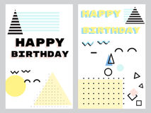 A set of greeting cards in the neo Memphis style royalty free illustration