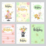 Set of greeting cards in pastel colors. Stock Photos