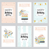 Set of greeting cards in pastel colors. Stock Photography