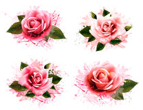 Set of greeting cards with pink roses. Stock Photo