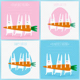 Set of 4 greeting cards with rabbits. Royalty Free Stock Photography
