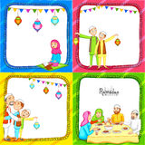 Set of greeting cards for Ramadan Kareem celebration. Colorful set of greeting card decorated with Islamic people enjoying and celebrating on occasion of holy