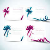 Set of greeting cards with ribbon and bow Royalty Free Stock Image