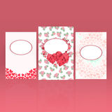 Set of greeting cards for St. Valentine's Day with hearts and roses background. Royalty Free Stock Image