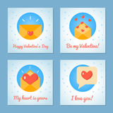 Set of greeting cards for Valentine s Day. Love letters and message. Blue colors. Flat design. Vector illustration Royalty Free Stock Photo