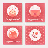 Set of greeting cards for Valentine s Day. Love letters and message. Pink colors. Flat design. Vector illustration Royalty Free Stock Images