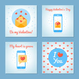 Set of greeting cards for Valentine s Day. Love letters and sms. Blue colors. Flat design. Vector illustration Stock Photography