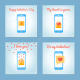 Set of greeting cards for Valentine s Day. Love letters and sms. Blue colors. Flat design. Vector illustration Stock Photo