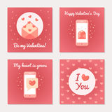 Set of greeting cards for Valentine s Day. Love letters and sms. Pink colors. Flat design. Vector illustration Royalty Free Stock Photos