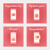 Set of greeting cards for Valentine s Day. Love letters and sms. Pink colors. Flat design. Vector illustration Stock Images