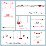 Set of greeting cards for valentine`s day, vector illustration of flat design royalty free illustration