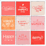 Set of greeting cards for Women's Day celebration. Stock Photo