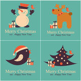 Set of Greeting Christmas Cards. Vector Illustration Royalty Free Stock Image