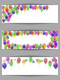 Set of greeting horizontal banners happy birthday with balloons. Royalty Free Stock Photos