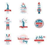 Set of greeting illustration for United States Independence day. Can be used as greeting card, banner, background. 4th of July. Vector typography Royalty Free Stock Photography