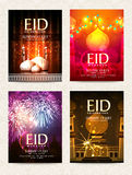 Set of greeting or invitation cards with mosque for Eid. Stock Photo
