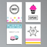 Set of greeting or journaling cards with cupcakes and doughnuts. Cute sweet design,  illustration background Stock Photo