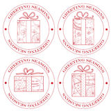 Set of greeting seasons stamp red with gifts Royalty Free Stock Photo