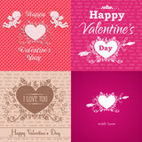 Set of greeting Valentine's Day cards. Vector illustration with ornament and typography elements royalty free illustration