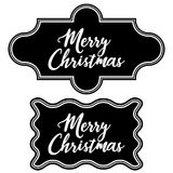 Set greeting vintage frame chalkboard merry Christmas. Vector frame retro vintage pattern decorations merry Christmas stock illustration
