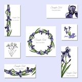 Set greeting and visit card. Hand drawn colored  sketch with wreath of iris flowers and  bouquet. Vector illustration Royalty Free Stock Photo