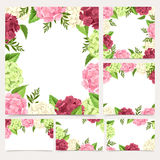 Set of greeting or wedding cards with hydrangea flowers. Vector eps-10. Royalty Free Stock Image