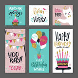 Set of greetings cards. Invitation for birthday party. Vector design template with hand writings words Stock Image