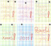 Set of Greetings with new years in colorful page Stock Photography