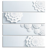 Set of grey banner with 3d flower chrysanthemum Stock Image
