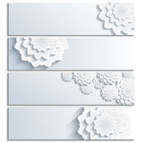 Set of grey banners with 3d stylized chrysanthemum Stock Image