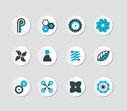 Set of grey and blue icons. Royalty Free Stock Photos