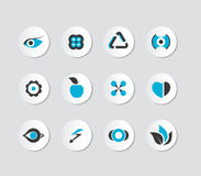Set of grey and blue icons. Royalty Free Stock Photography