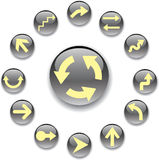 Set grey buttons - 4. Arrows Stock Image